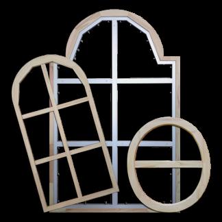 Châssis de forme bois aluminium ovale cintré épaulé - Chassitech